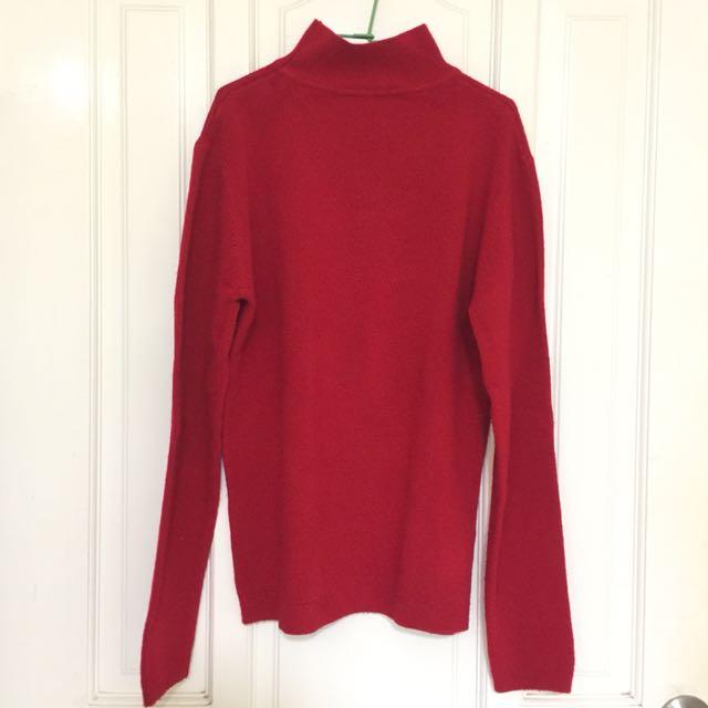 大紅高領毛衣