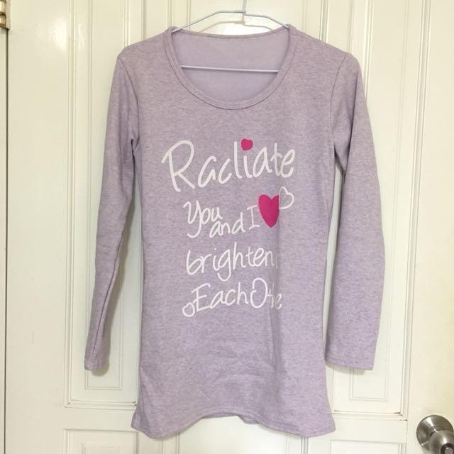 內刷毛厚紫色長版上衣