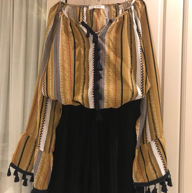 正韓彩條流蘇民族風燈籠袖雪紡衫