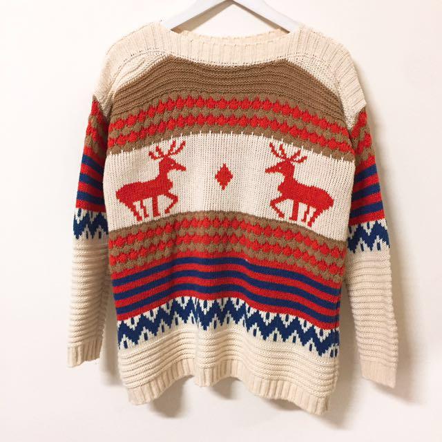 麋鹿針織毛衣上衣