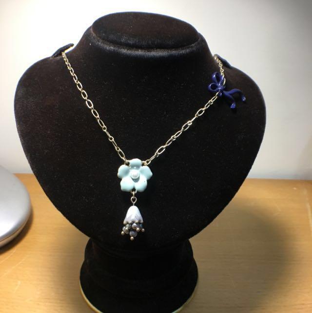 出清二手飾品 專櫃品牌珍珠琺瑯造型項鍊設計款出清特賣