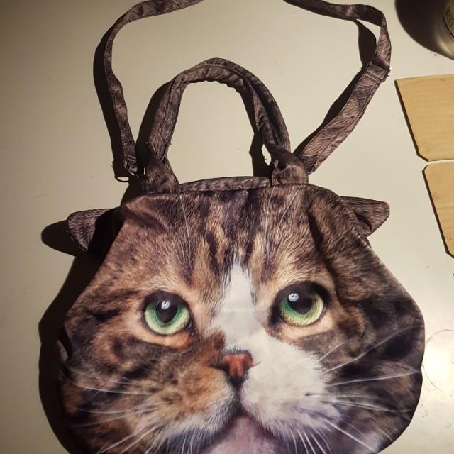 貓臉 大開口 斜背包