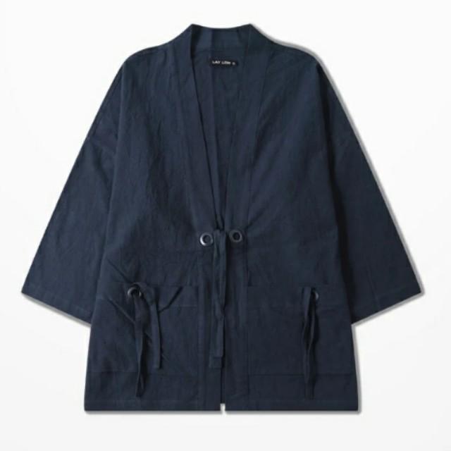 (全新)日系 深藍色 和風外套 和服 L號 亞麻 棉麻