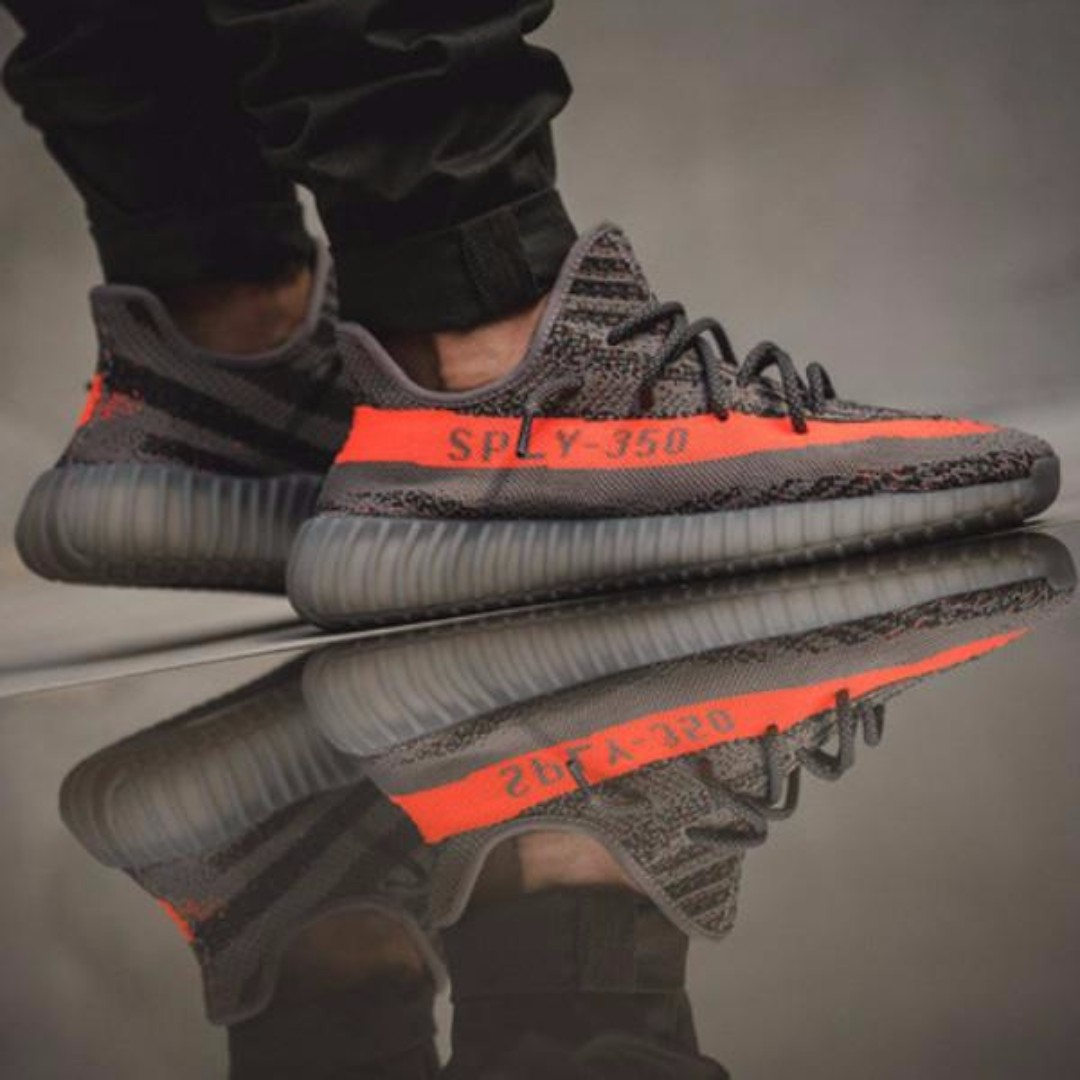 detailed look 3f38d 207d7 Adidas Yeezy Boost 350 V2  Steel Grey Beluga Solar Red , Men s Fashion,  Footwear on Carousell