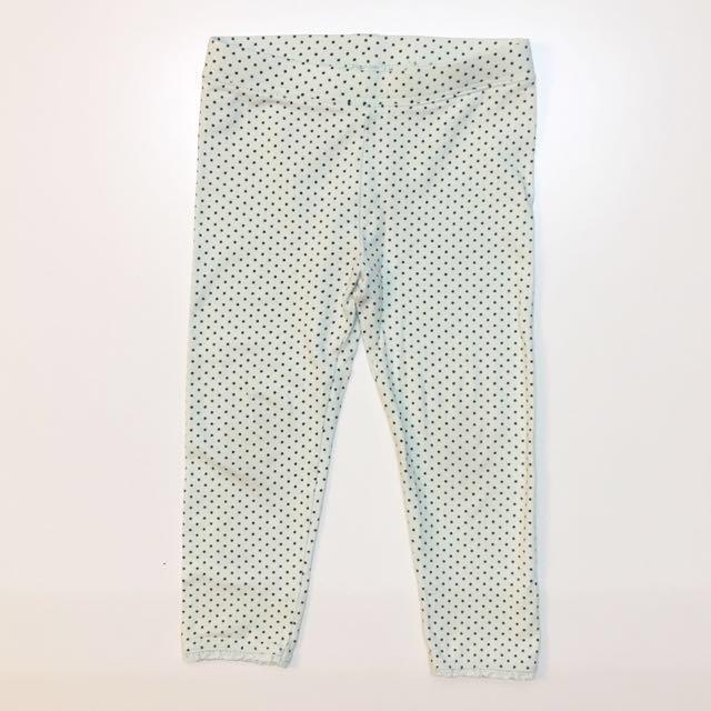baby gap toddler 童裝 棉質貼身長褲彈性內搭褲 淡蘋果綠點點
