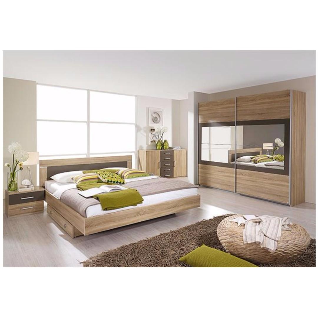 Bedroom Set Bed Frame Bedside Tables Wardrobe Furniture Beds