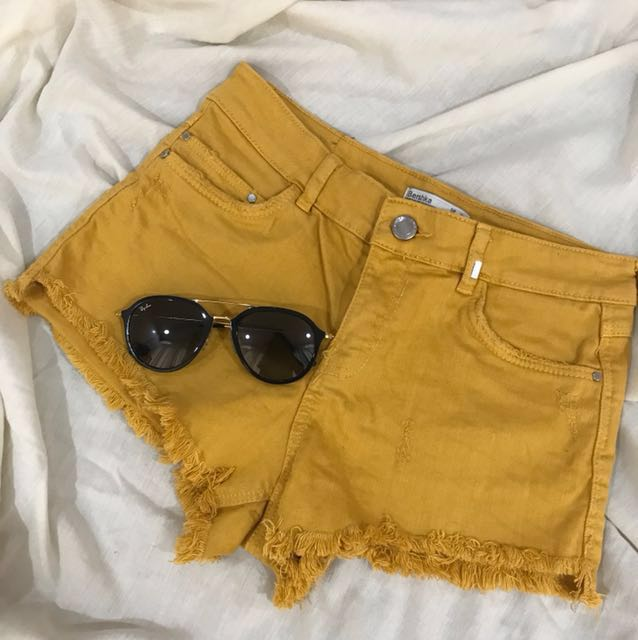 Bershka Mustard Colored Shorts
