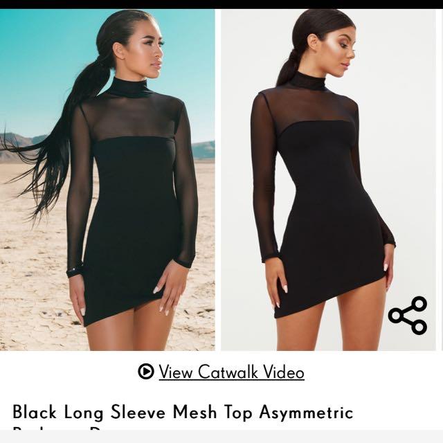 Black mesh asymmetrical hem dress