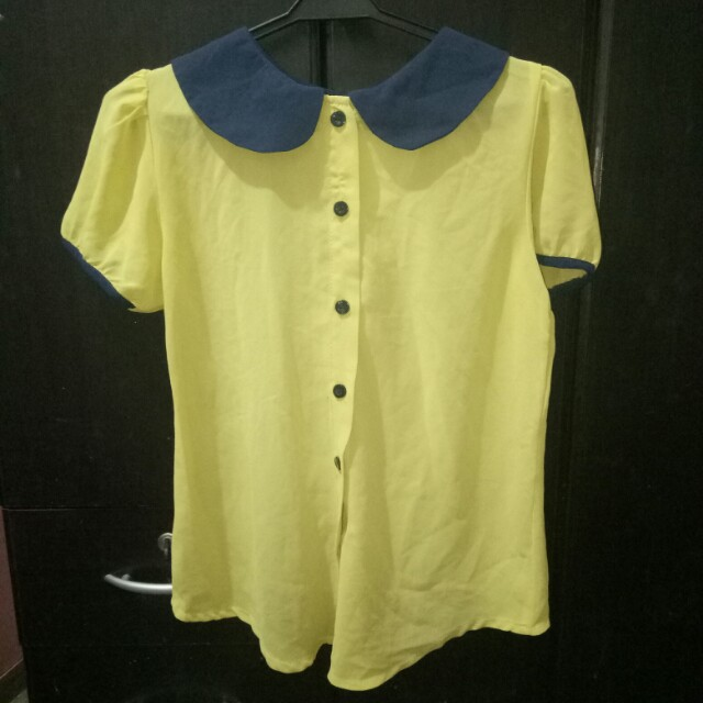 Sheer Blue/Yellow Collared Top