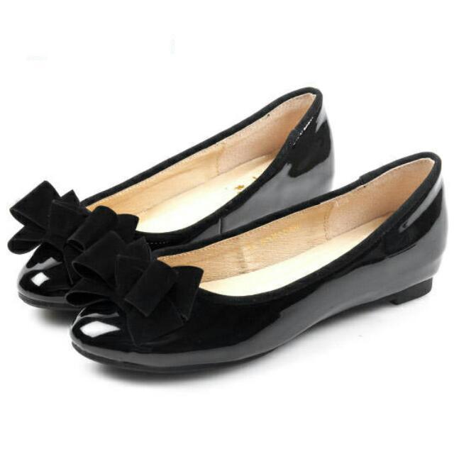 Bonbons 黑色漆皮蝴蝶結內增高 娃娃鞋 上班鞋  41號 大尺碼
