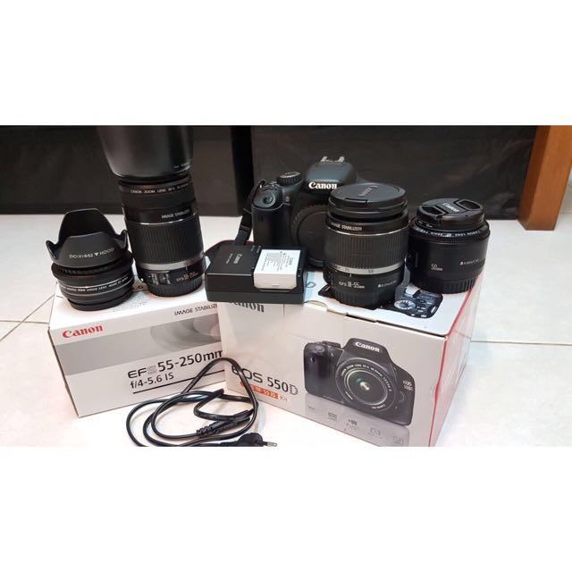Canon EOS 550D with Camera Bag and Lenses