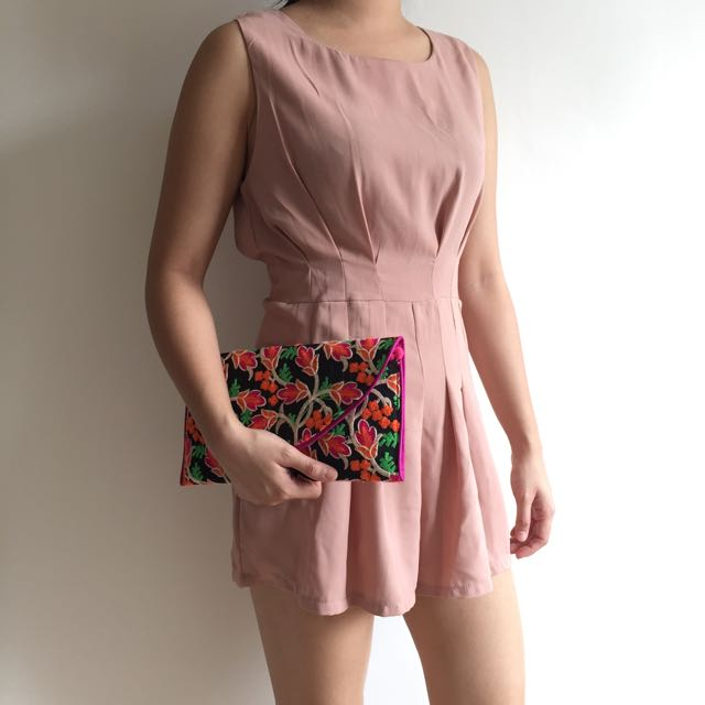 Champagne Pink Pleated Romper