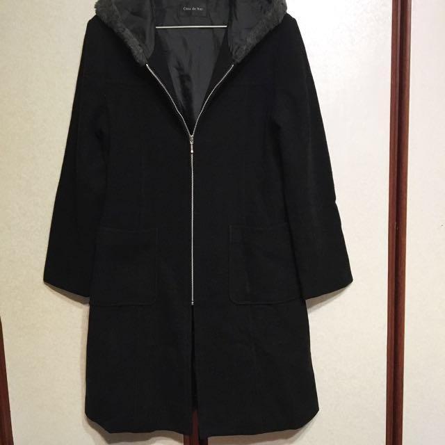 Cosa de ver 黑色連帽長版毛呢外套 大衣#雙十一女裝出清