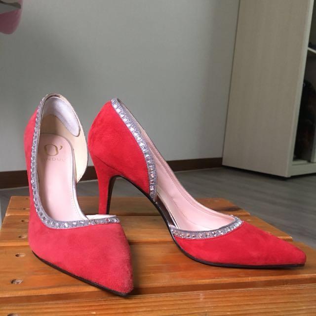 DAPHNE 紅色麂皮跟鞋 婚鞋 婚禮