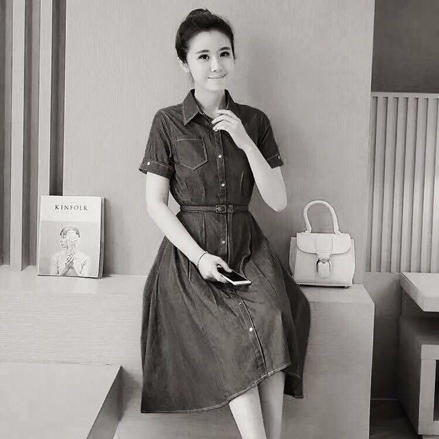 Denim Korean Black Dress