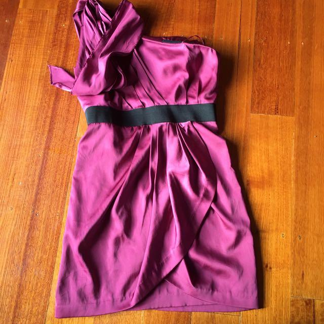 Dotti one shoulder burgundy dress