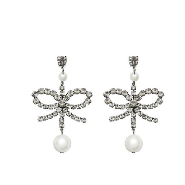 ERDEM X H&M COLLABOATION RHINESTONE BOW PEARL CLIP-ON EARRINGS