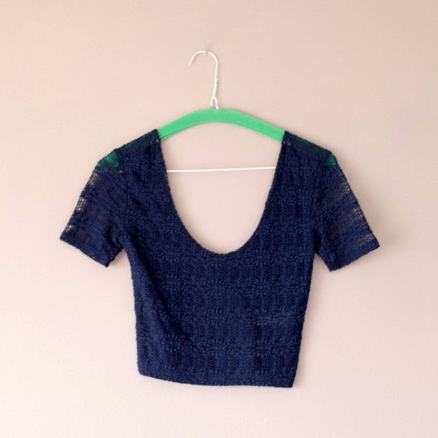 F21 blue crop top
