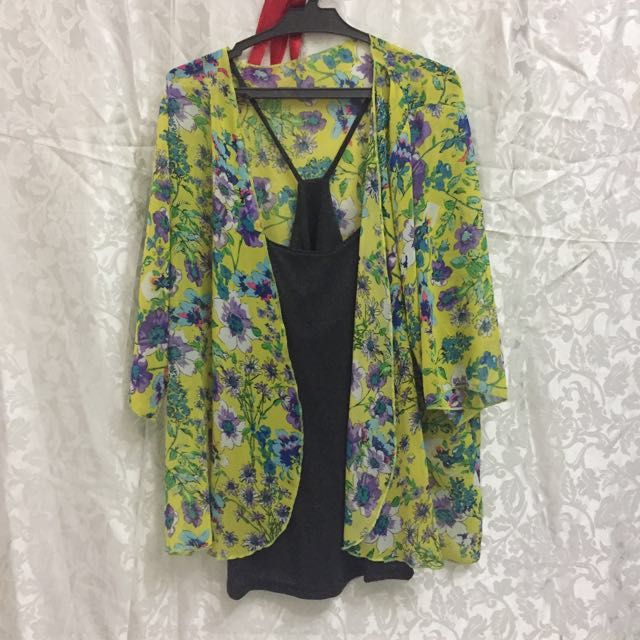 Floral Kimono With Inner Black Top