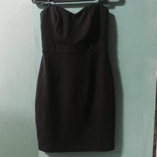Forever21 Black With Gold Tube Dress