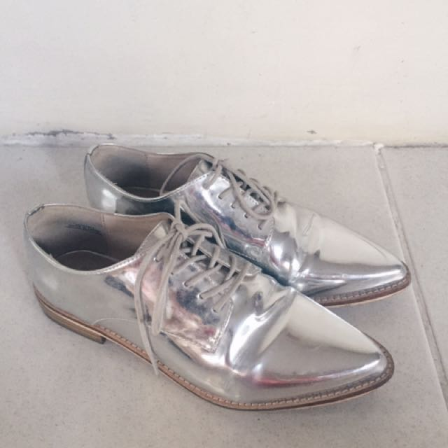 Forever 21 metallic silver lace-ups