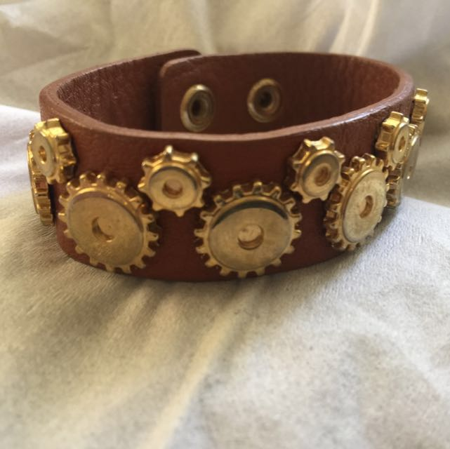Genuine Leather Bracelet With Metallic Studs