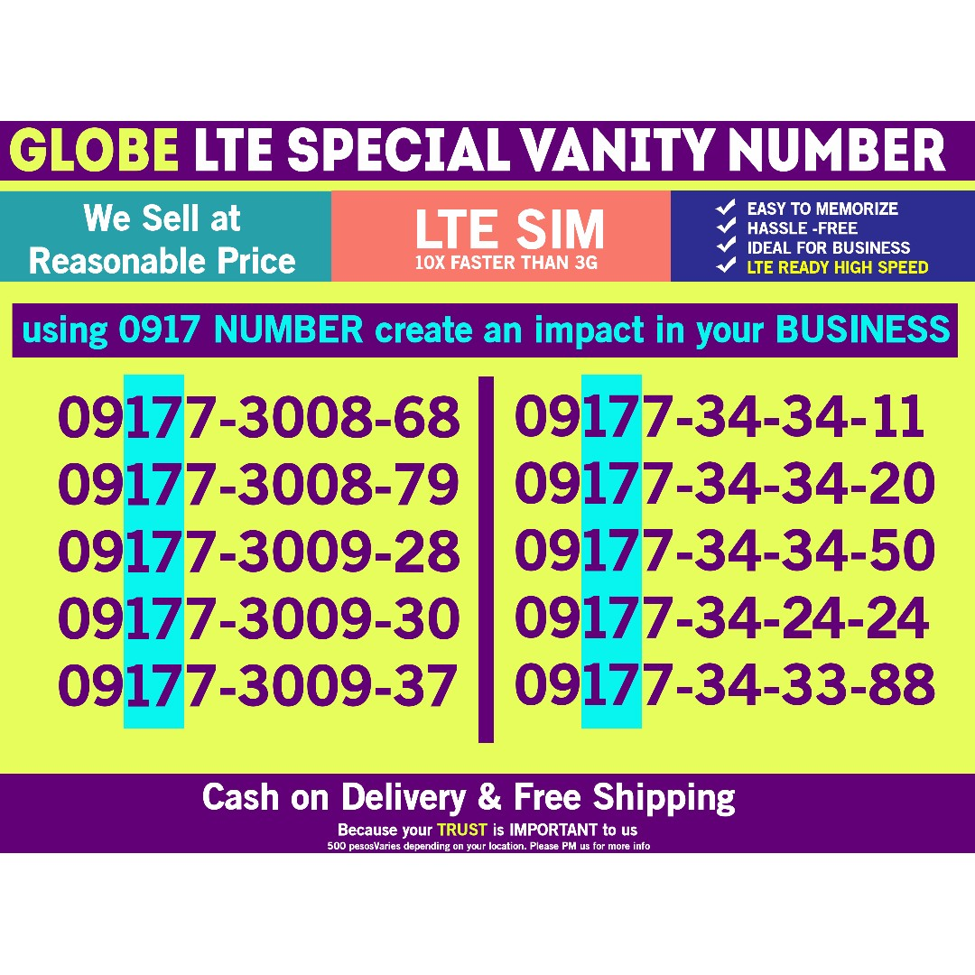 Globe Sim LTE Special Number 0917 make your number legit
