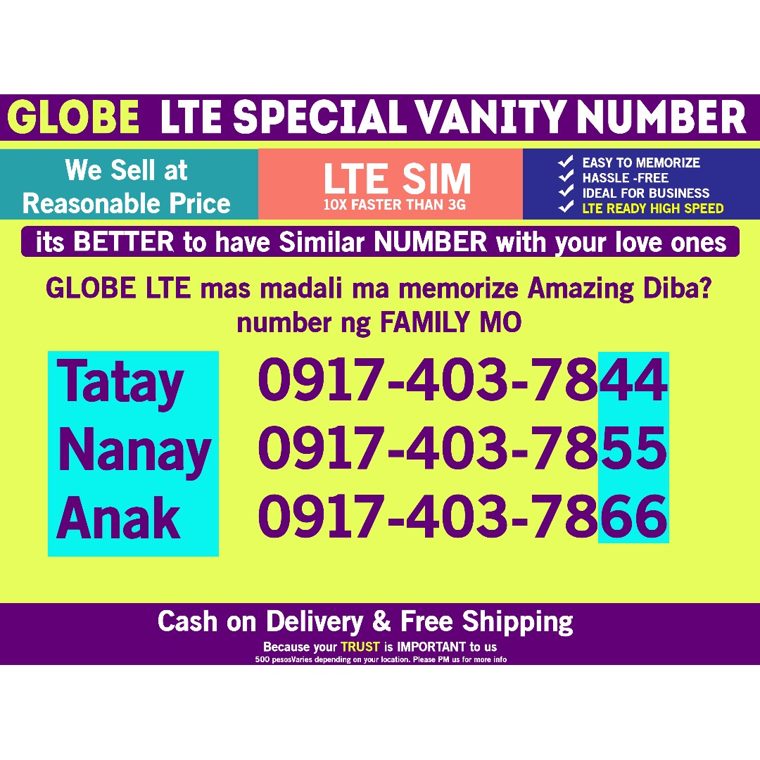 Globe Sim LTE Special Number for Family price for 3pcs