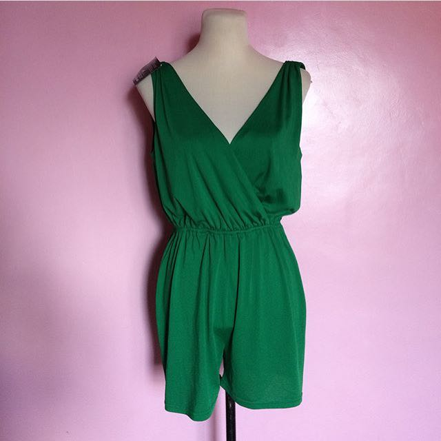 Green Deep V Rompers