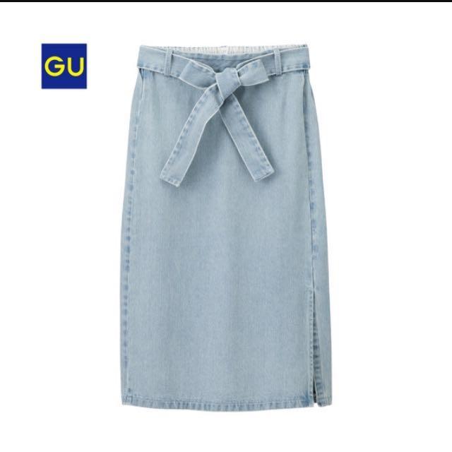 GU 綁帶牛仔裙#雙十一女裝出清