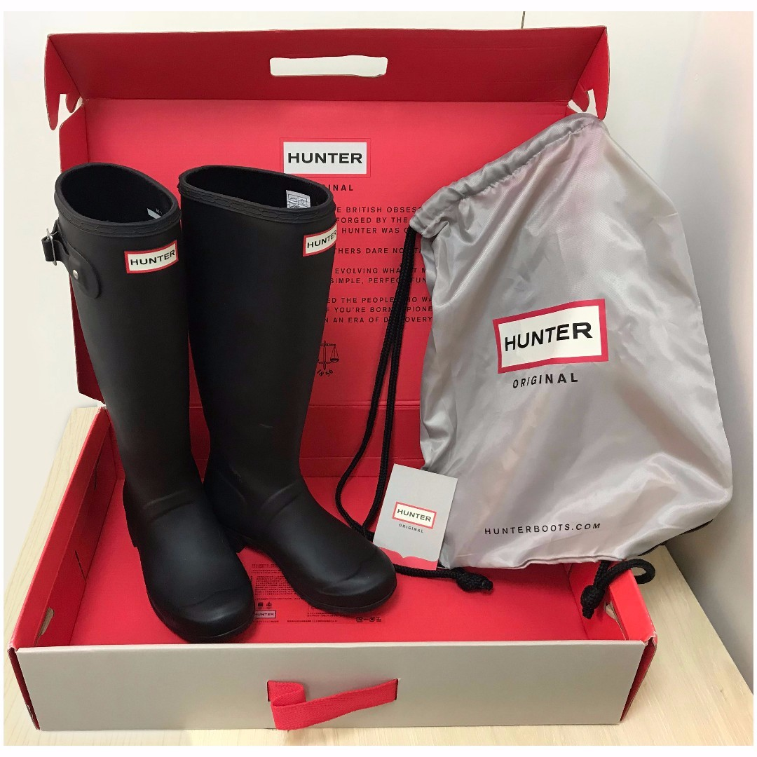 Hunter Boots Tour (Packable) Matte Black; US5, EU35/36, UK3