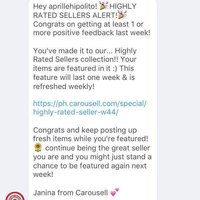 I'm Highly Rated by Carousel!