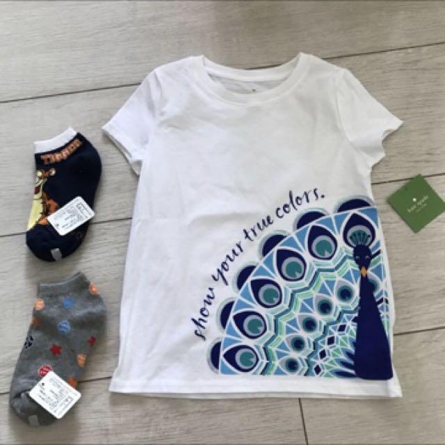 全新Kate Spade 女童T shirt 6歲送襪子