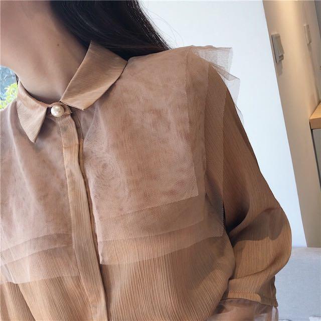 Mesh top blouse button down
