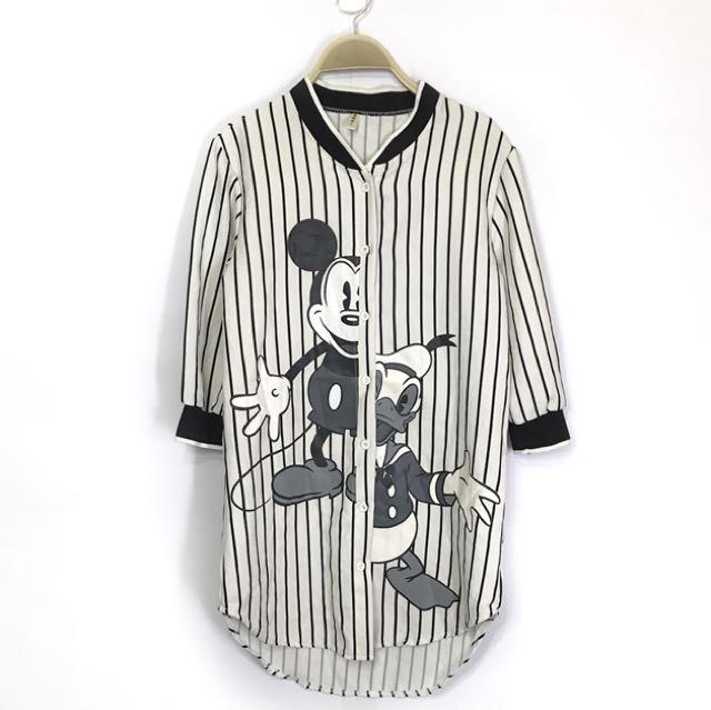 Minnie & Donald Stripes baseball long top