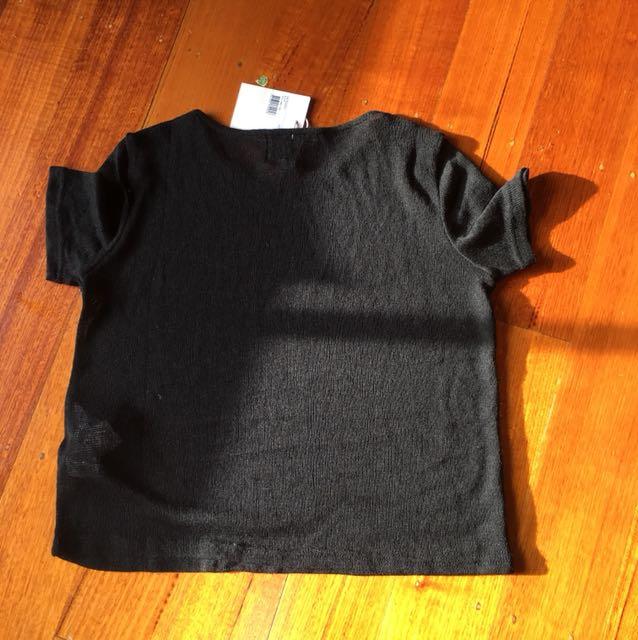 MPC black sheer top