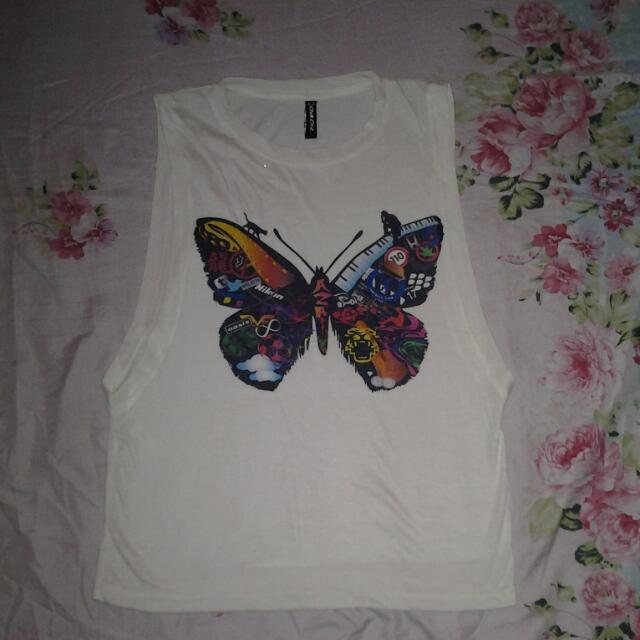 Muscles Shirt W/ Butterfly Print
