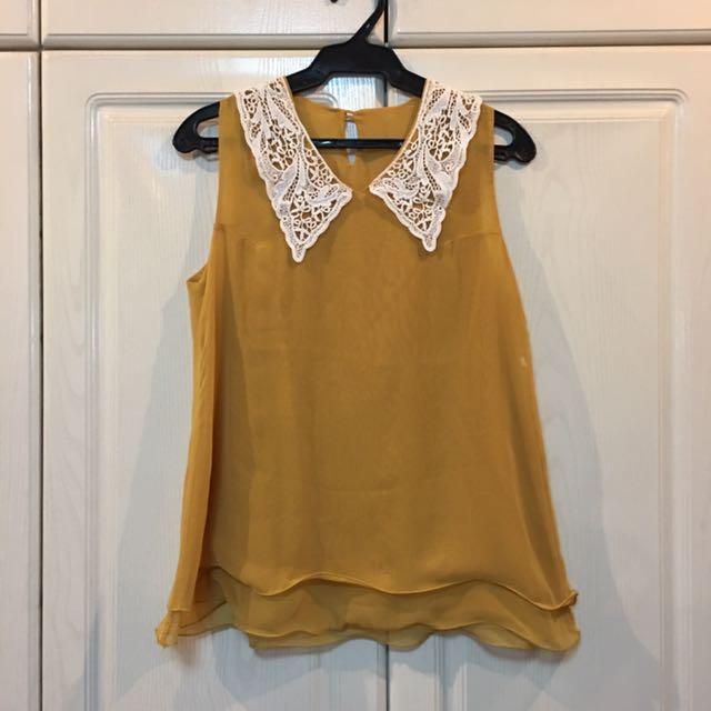 Mustard Lace Collar Blouse