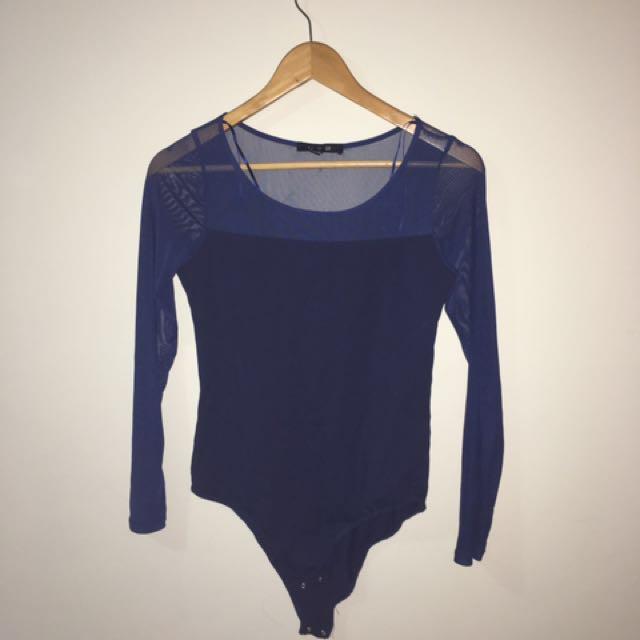 Navy Blue Mesh Sleeve Bodysuit