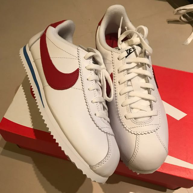 Nike Cortez 全皮革 阿甘鞋 紅勾 藍底