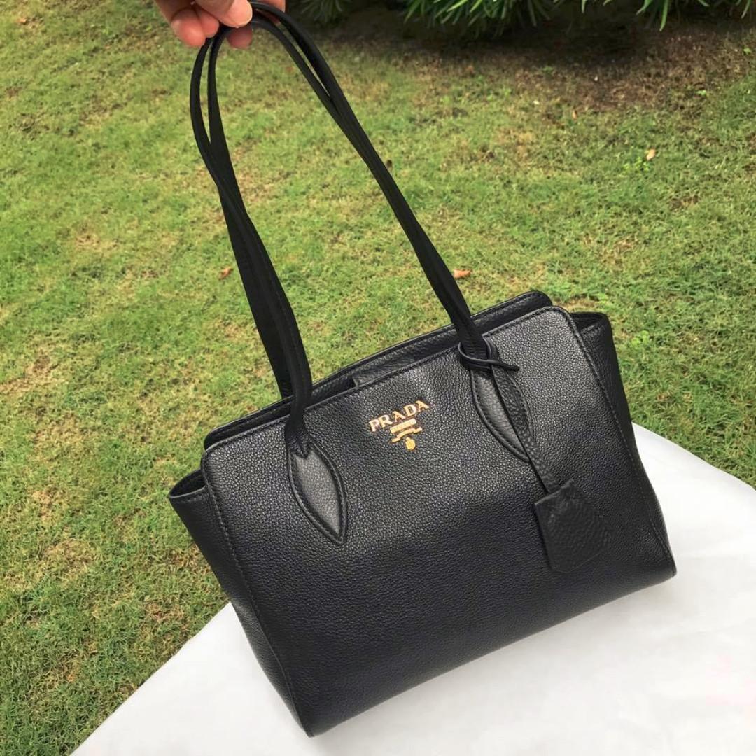 0f84b020f6 Prada 1BG112 Vitello Phenix Black Leather Bag