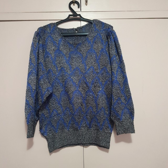 Puff sleeve blue gray printed top