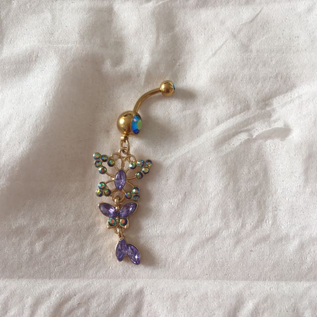 Purple Crystal Butterfly dangle belly ring