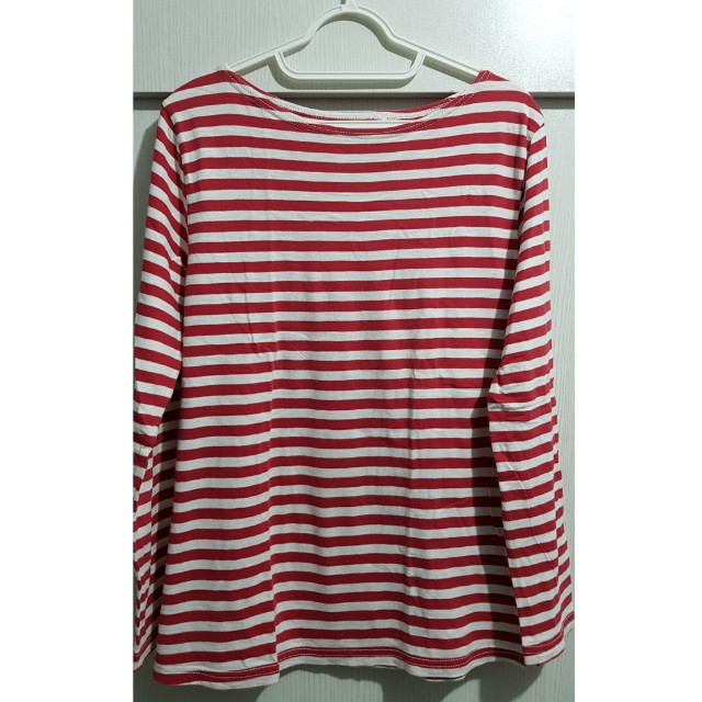 Red and white long sleeves