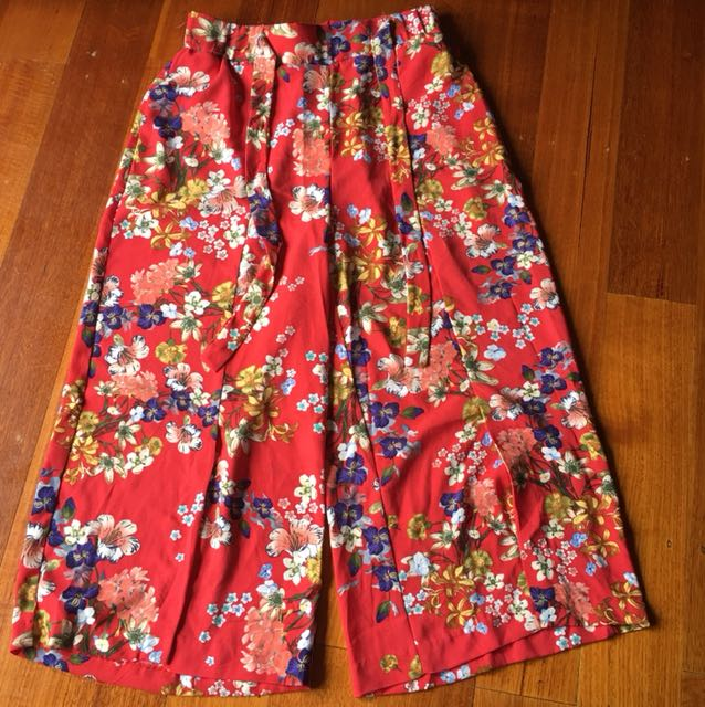 Red floral culottes