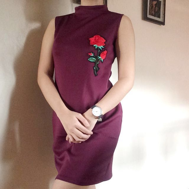 Repriced Turtleneck Maroon Dress with Rose Patch