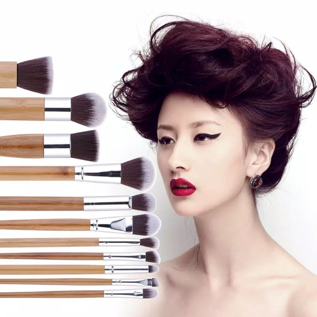 Set brush kuas 11pcs bamboo natural