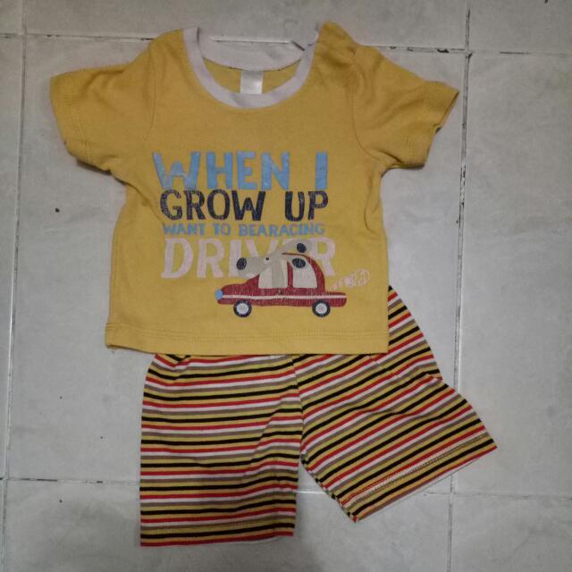 Setelan Baju Anak Bayi Cowok Kuning Brand In Box ±9-12 Bulan