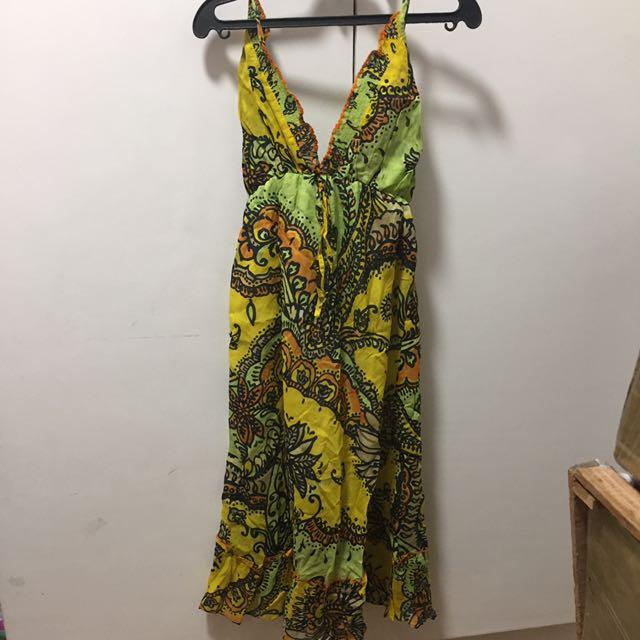 Spag strap colorful dress