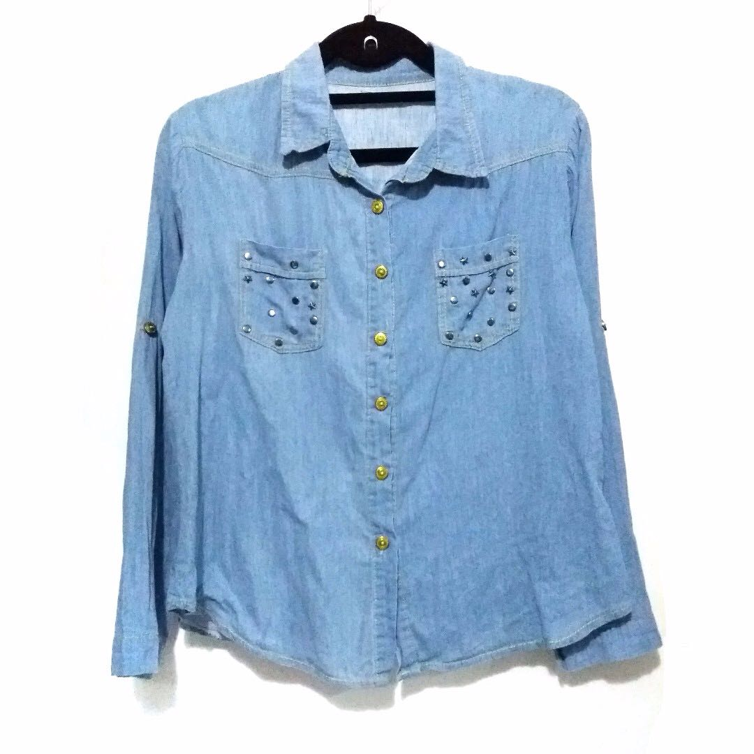 Studded Denim Button Up